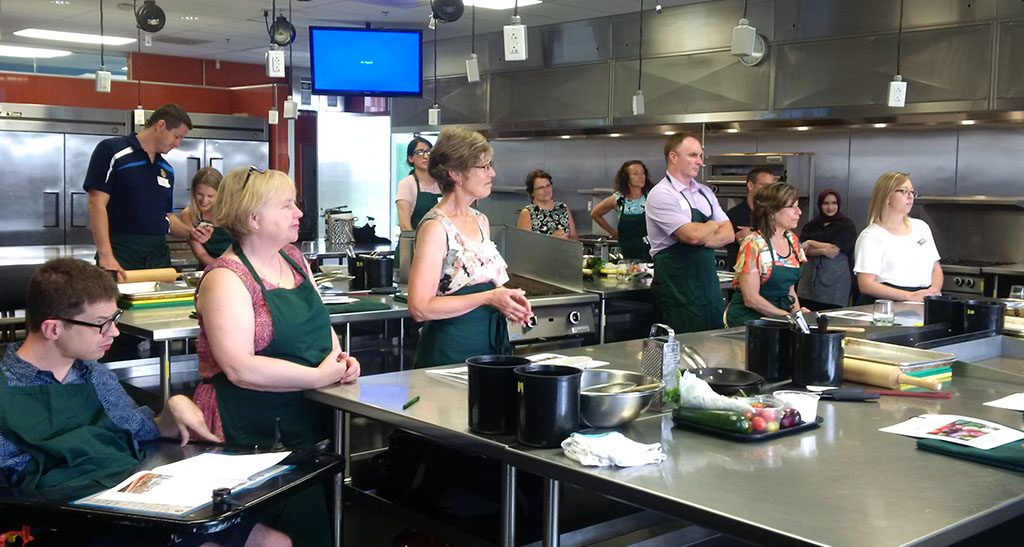 Members prepare flatbread at Centre for Food