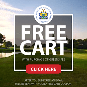 Golf Advertisement - Get a free golf cart with purchase of Green fees